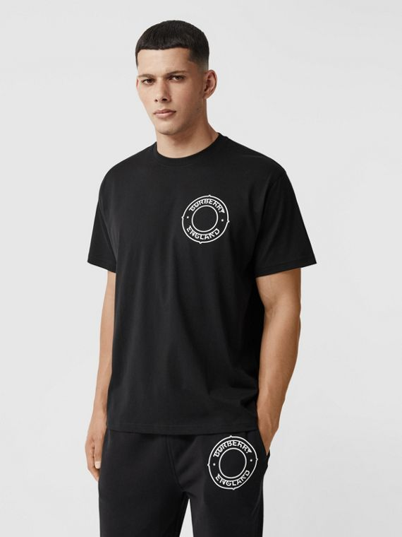 Logo Graphic Print Cotton Oversized T-shirt in Black