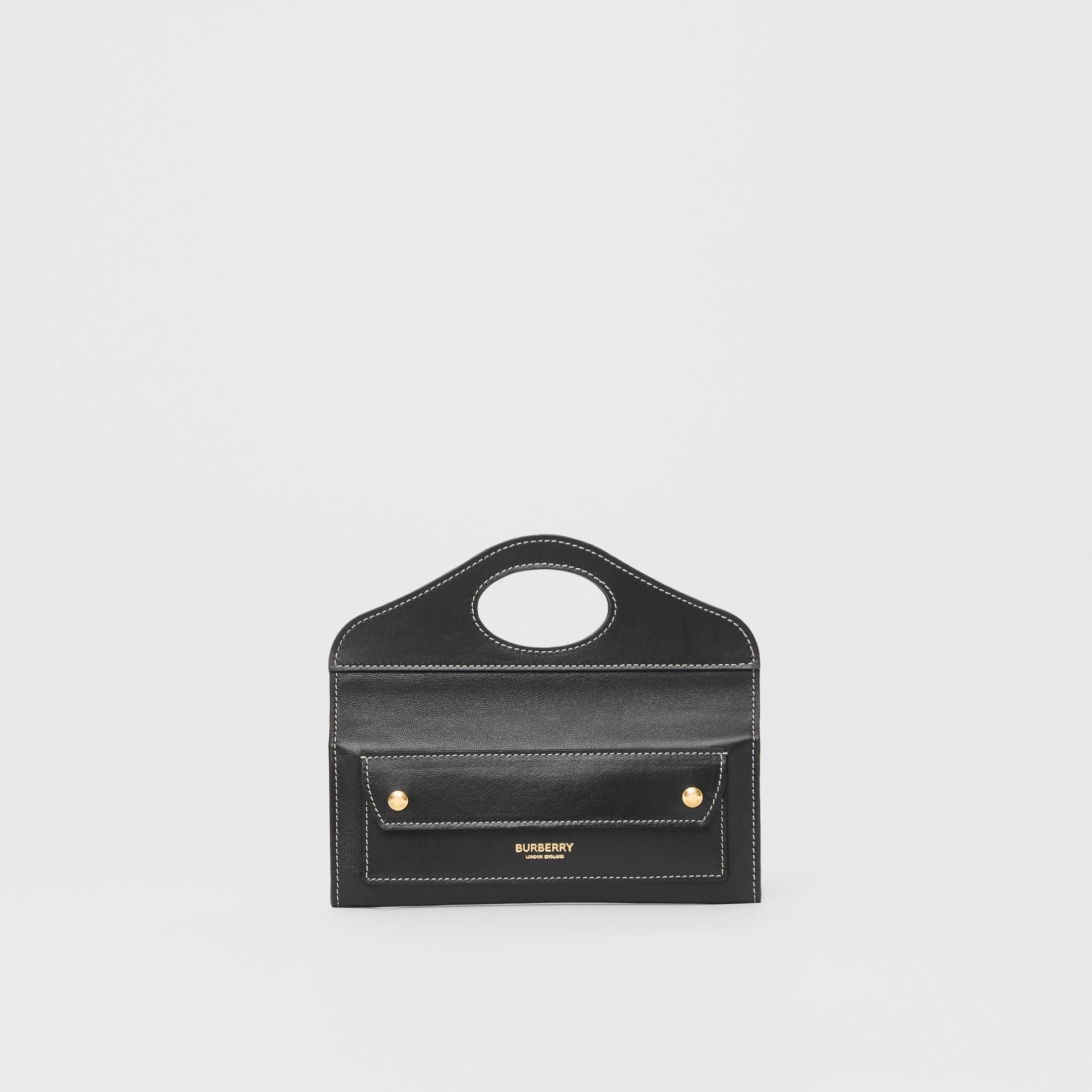 Mini Topstitched Lambskin Pocket Clutch in Black | Burberry - gallery image 0