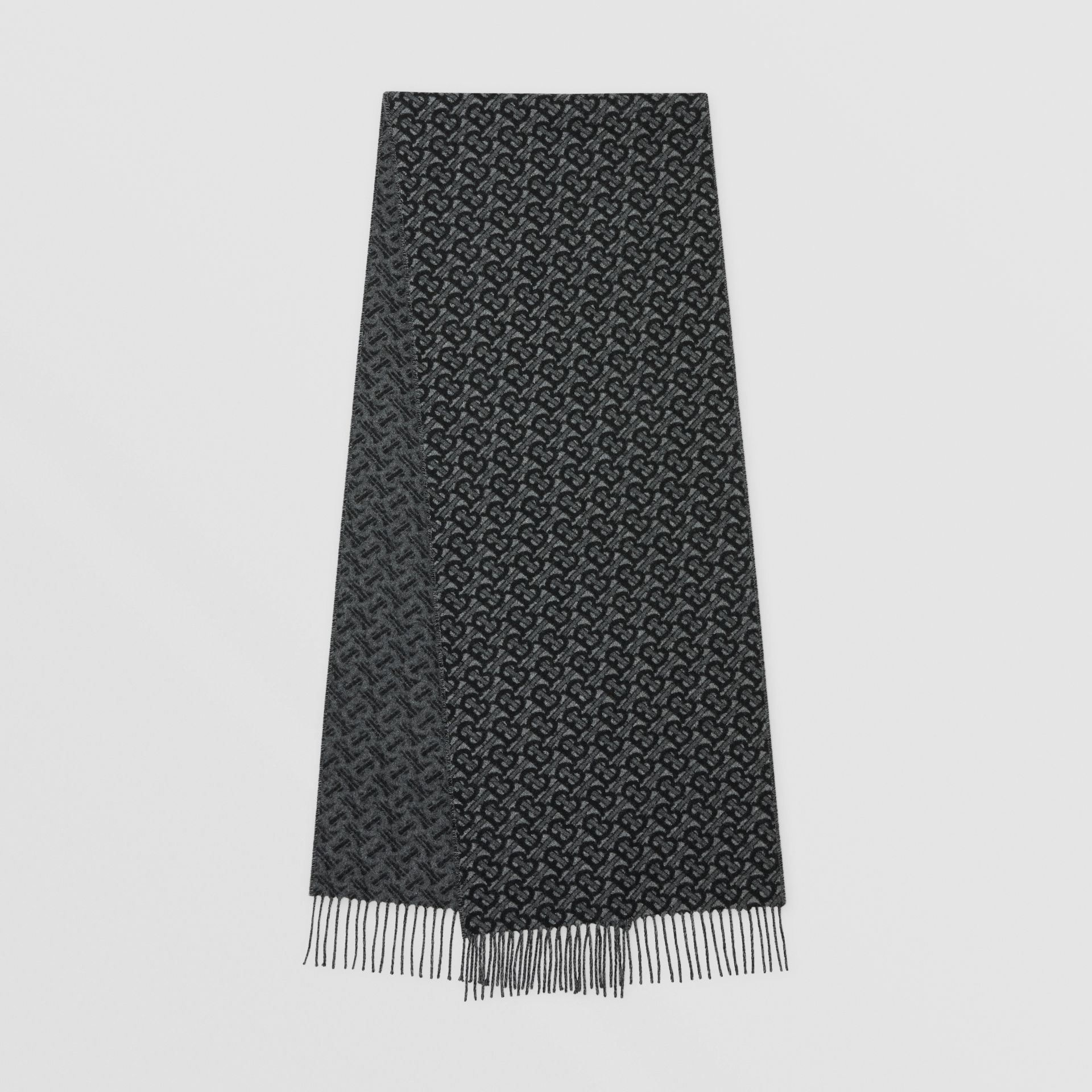 Monogram Cashmere Jacquard Scarf in Graphite | Burberry - gallery image 0