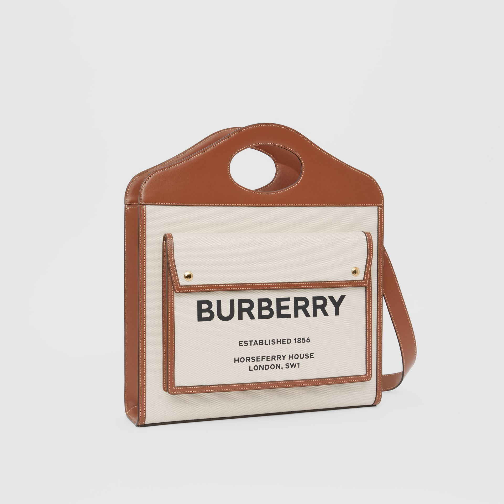 Medium Two-tone Canvas and Leather Pocket Bag in Natural/malt Brown - Women | Burberry - gallery image 4