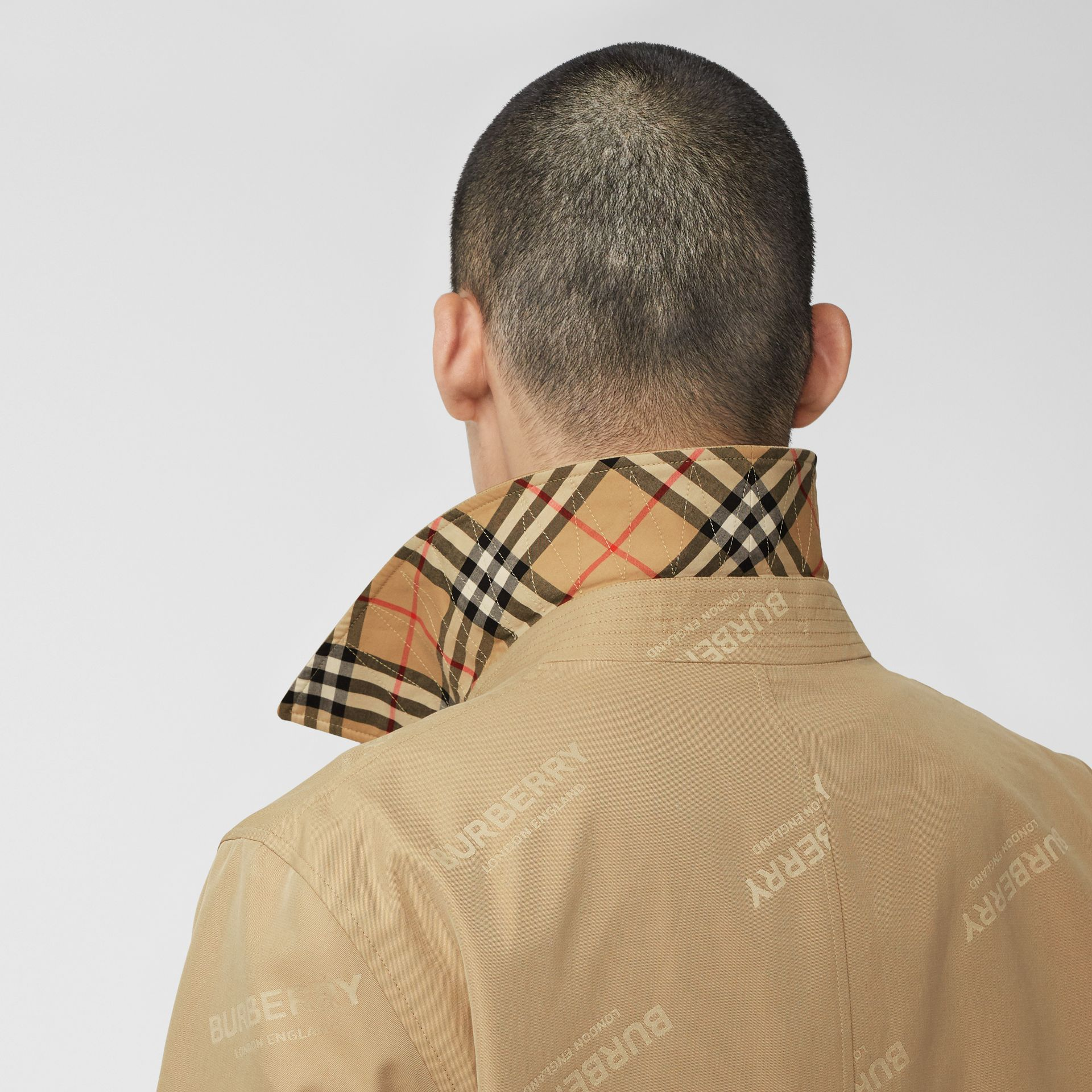 Logo Jacquard Cotton Twill Car Coat in Soft Fawn - Men | Burberry - gallery image 4