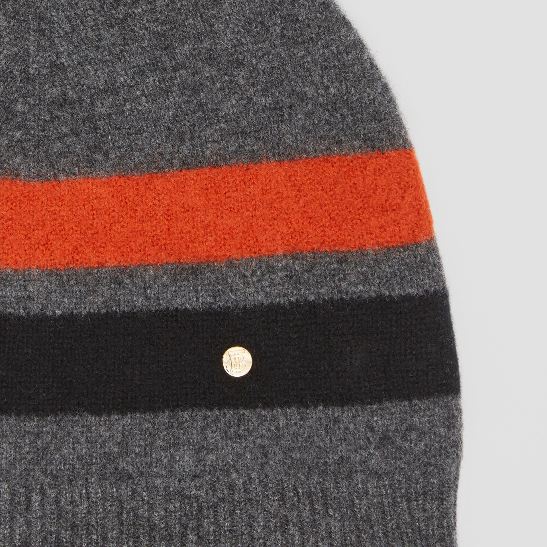 Monogram Motif Merino Wool Cashmere Beanie in Dark Grey | Burberry - gallery image 1
