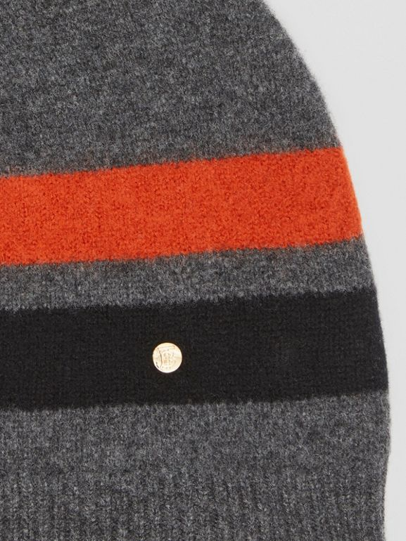 Monogram Motif Merino Wool Cashmere Beanie in Dark Grey | Burberry - cell image 1