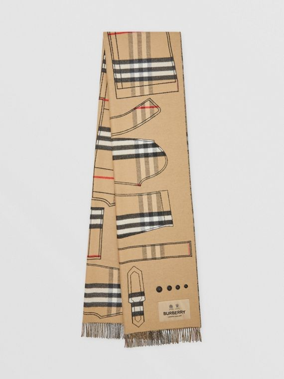 Archive Trench Coat Pattern Cashmere Jacquard Scarf in Beige