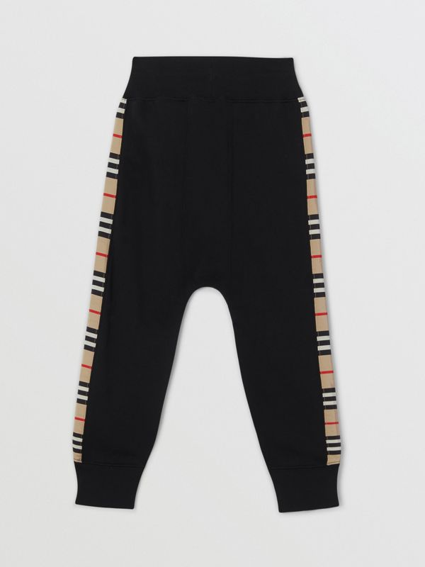 Icon Stripe Panel Cotton Trackpants in Black | Burberry United Kingdom - cell image 2