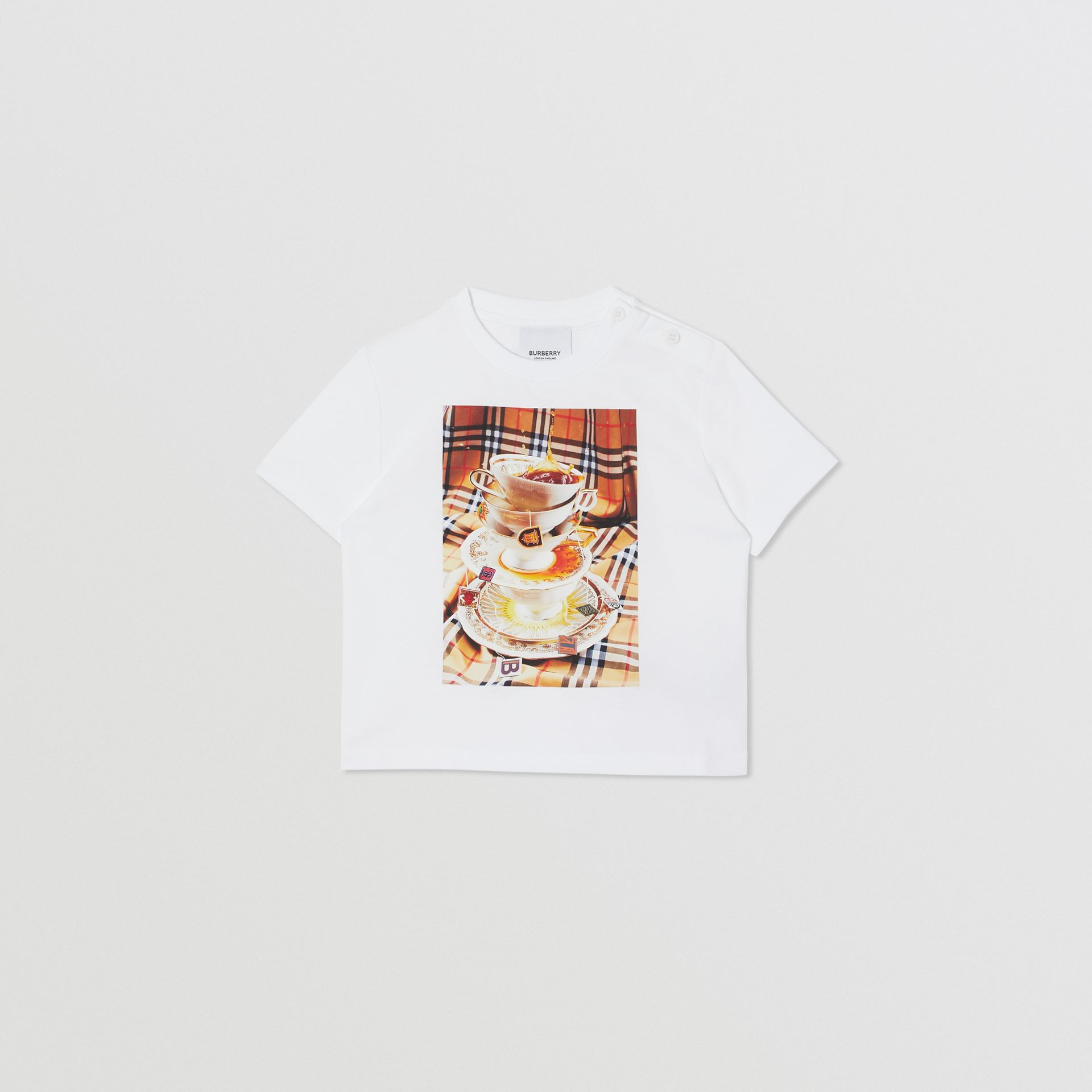 Teacup Print T-shirt in Multicolour - Children | Burberry - gallery image 0