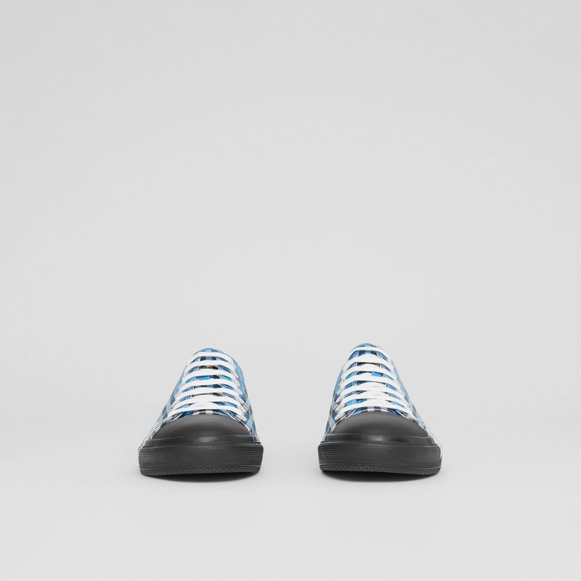 Logo Print Check Cotton Sneakers in Blue Azure - Men | Burberry - gallery image 2