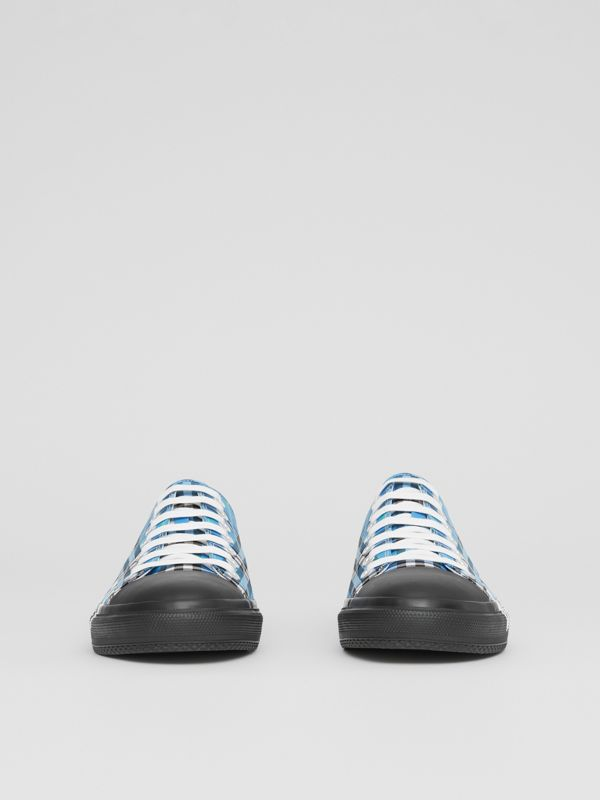 Logo Print Check Cotton Sneakers in Blue Azure - Men | Burberry - cell image 2