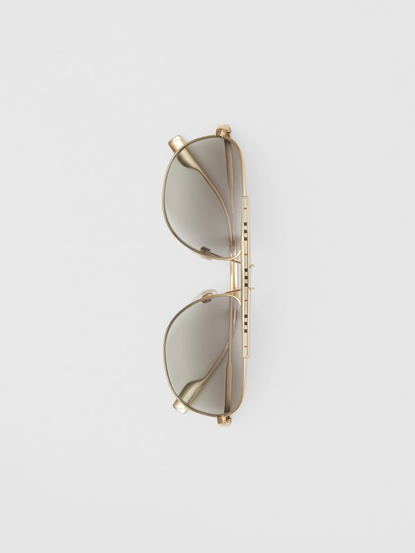 Icon Stripe Detail Pilot Sunglasses in Gold - Men | Burberry Canada - cell image 3