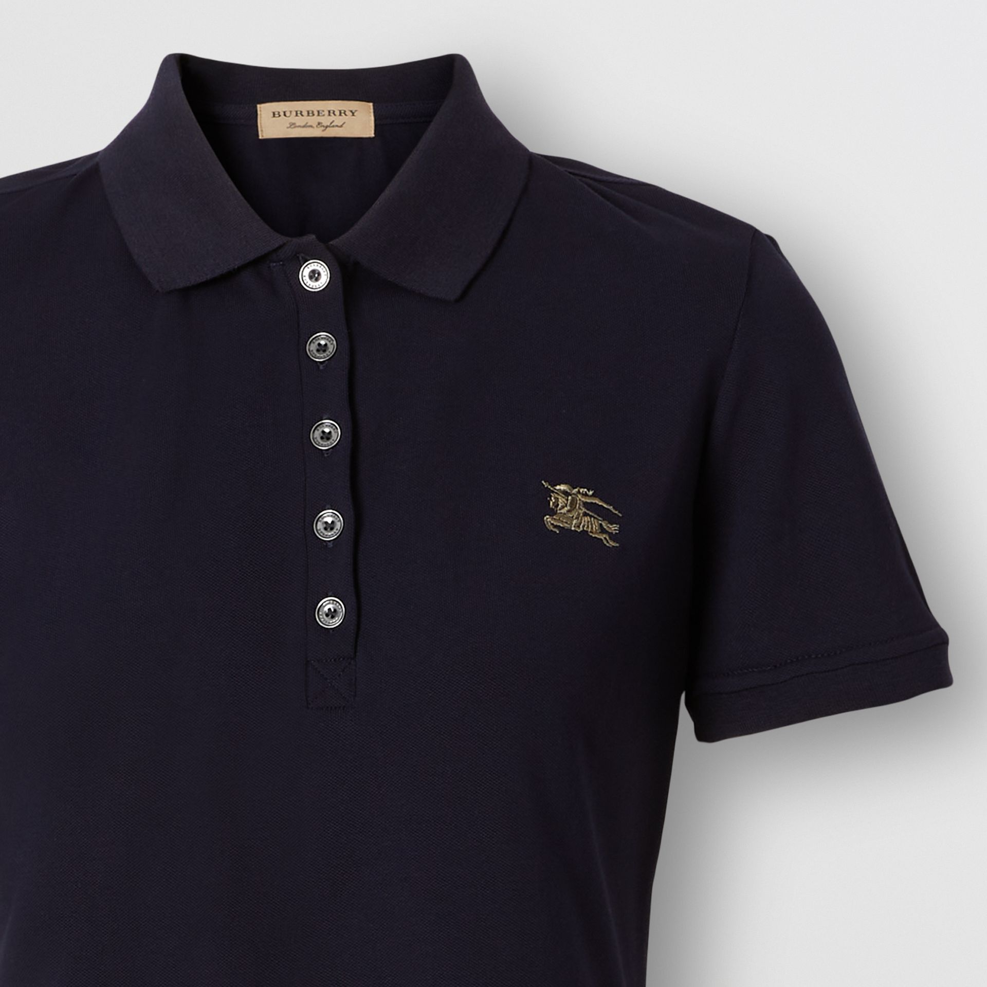 Check Trim Stretch Cotton Polo Shirt in Navy - Women | Burberry - gallery image 1
