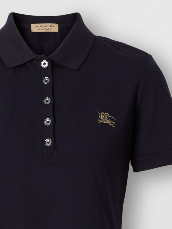 Check Trim Stretch Cotton Polo Shirt in Navy - Women | Burberry - cell image 1