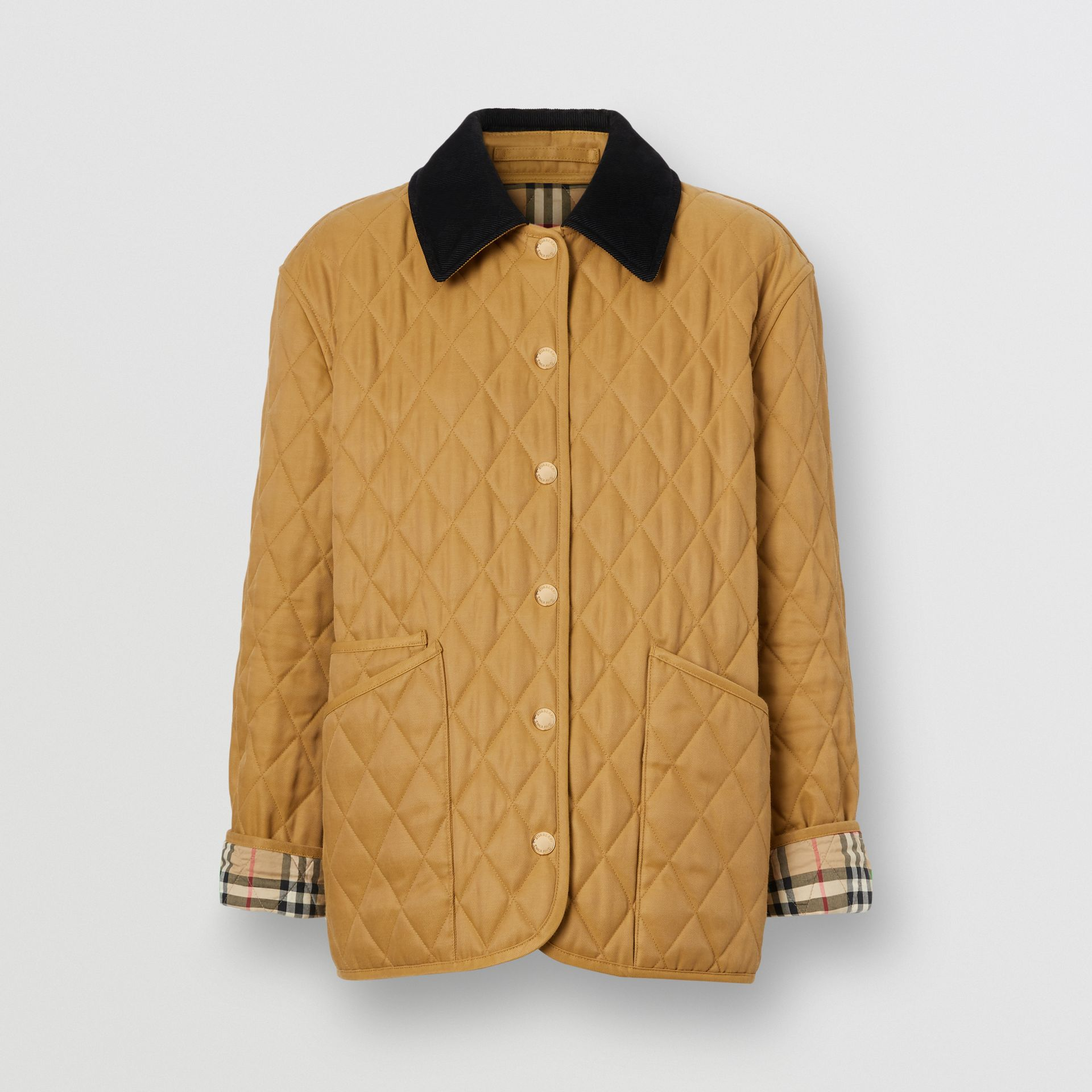 Corduroy Collar Diamond Quilted Jacket in Camel - Women | Burberry - gallery image 8