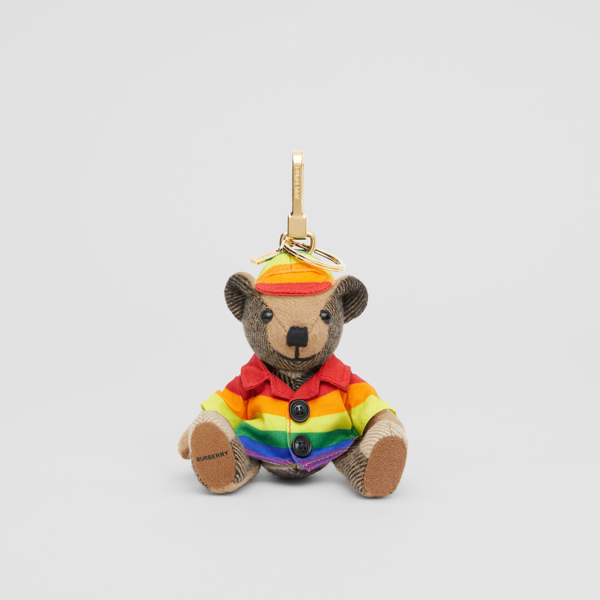 Thomas Bear Charm in Rainbow Coat and Hat in Archive Beige/multicolour   Burberry United Kingdom - gallery image 0