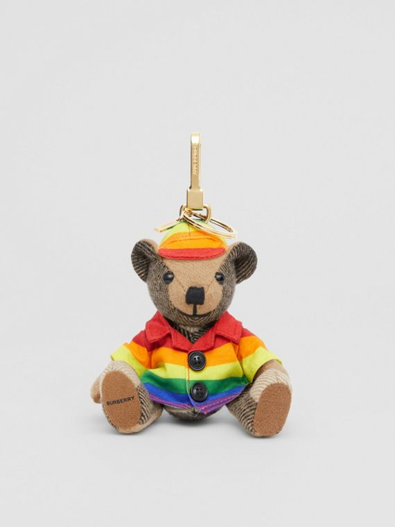 Thomas Bear Charm in Rainbow Coat and Hat in Archive Beige/multicolour