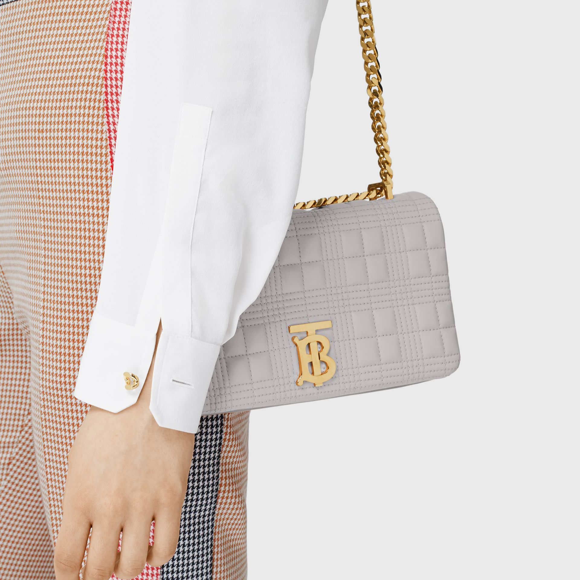 Small Quilted Lambskin Lola Bag in Cloud Grey | Burberry - gallery image 2