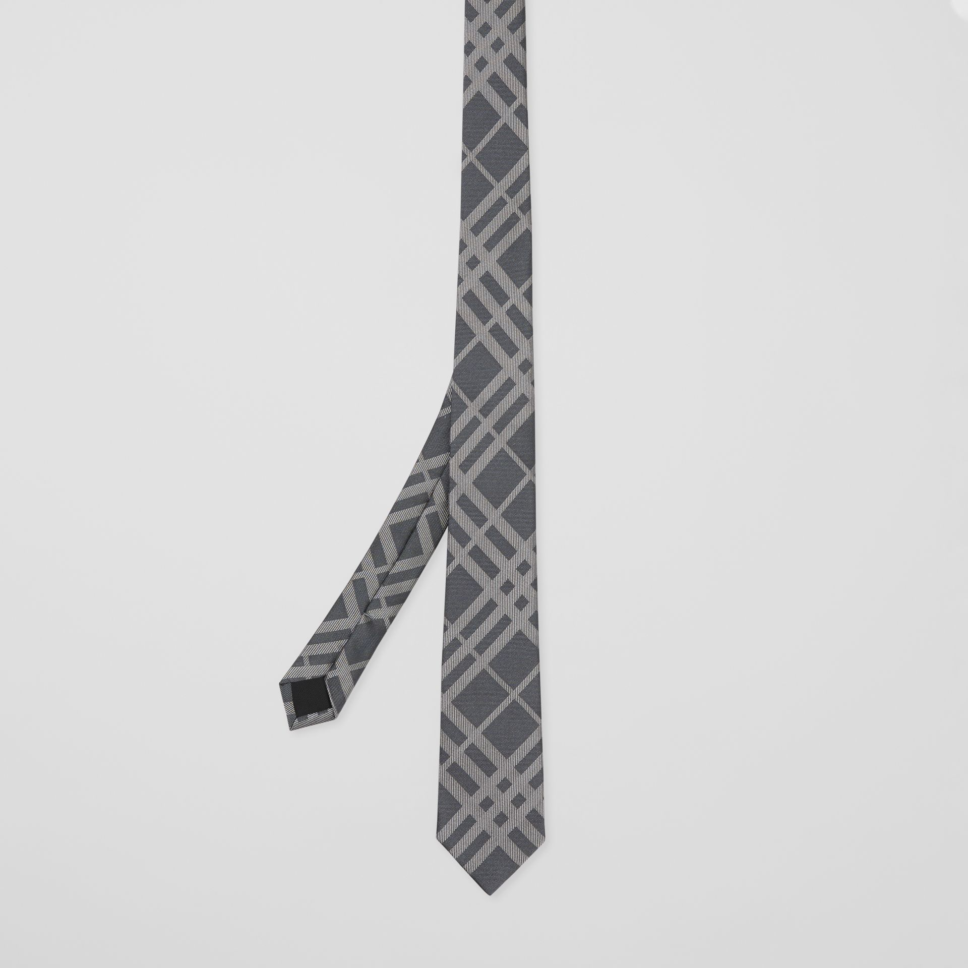 Classic Cut Check Silk Jacquard Tie in Mid Grey - Men | Burberry - gallery image 4