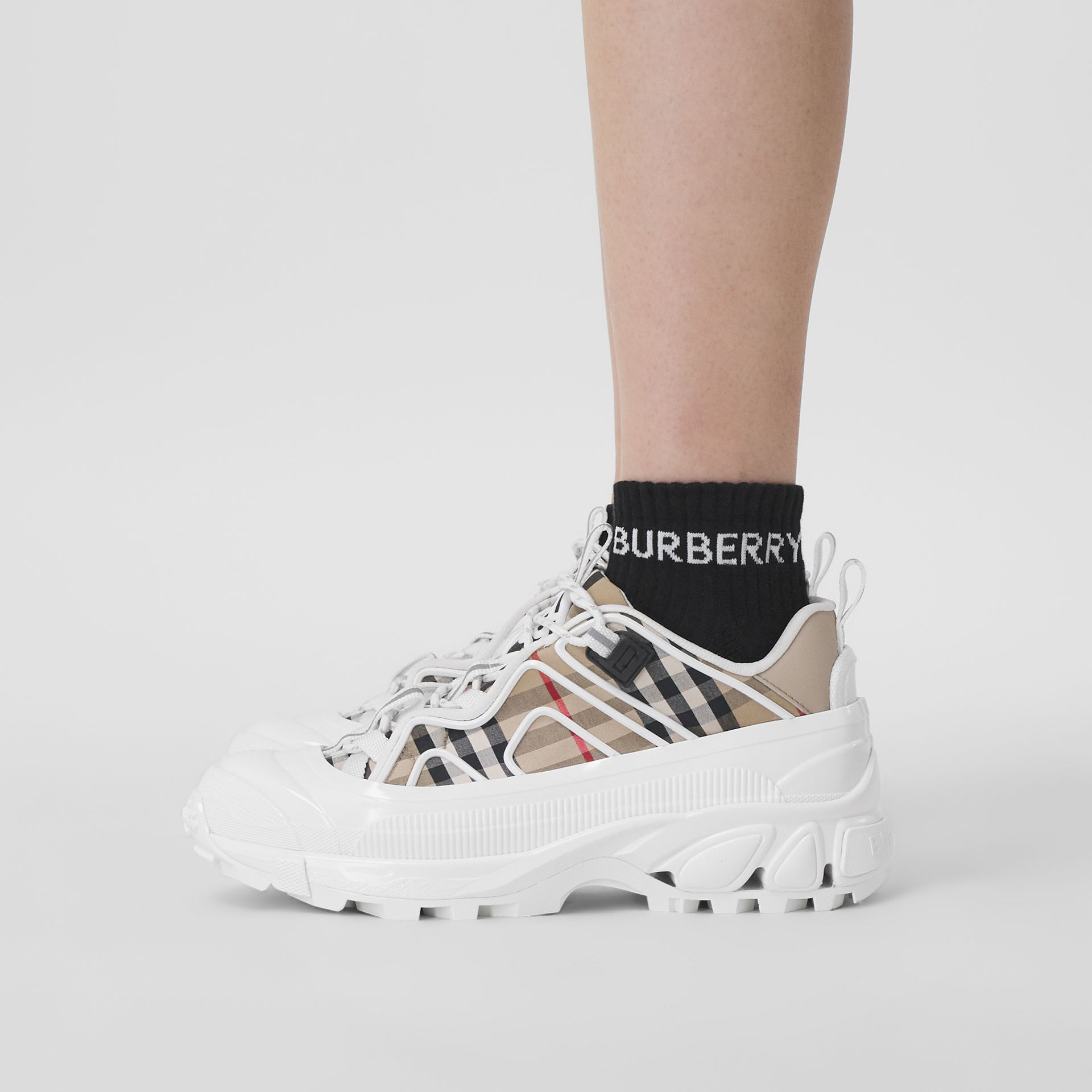 Logo Intarsia Technical Stretch Cotton Ankle Socks in Black | Burberry - gallery image 4