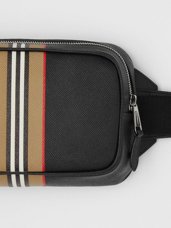 Icon Stripe Print Grainy Leather Bum Bag in Black - Men | Burberry - cell image 1