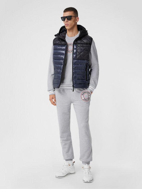 Diamond Quilted Panel Hooded Puffer Gilet in Midnight