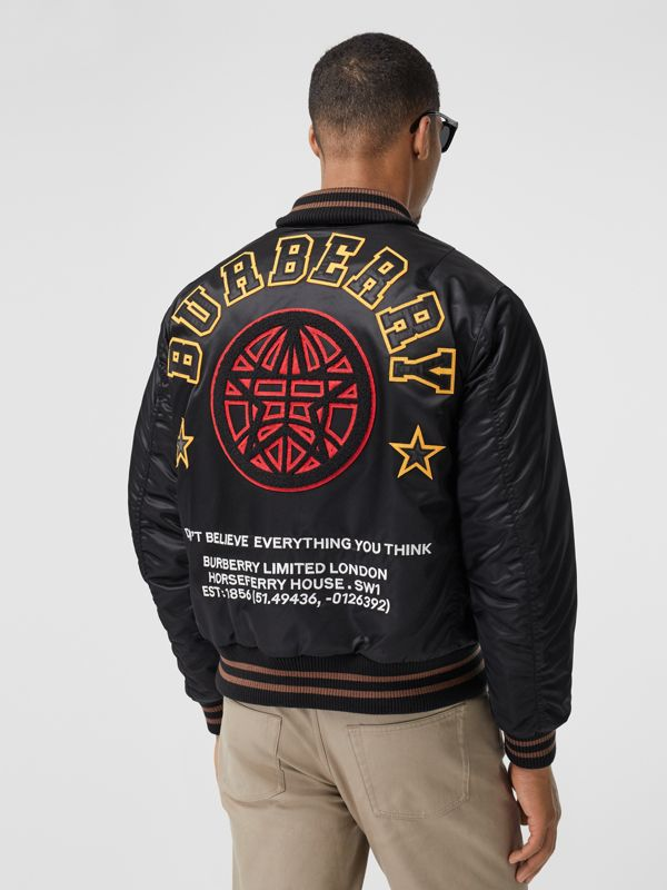 Varsity Graphic Satin Bomber Jacket in Black - Men | Burberry - cell image 2