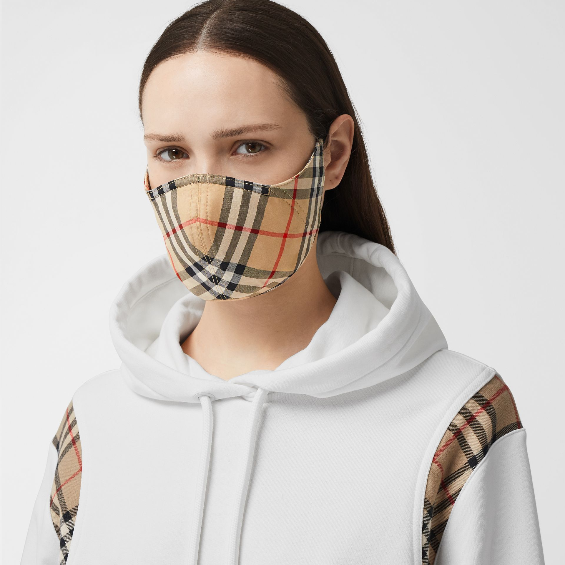 Vintage Check Cotton Face Mask in Archive Beige - Women | Burberry - gallery image 2
