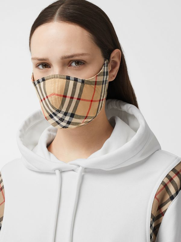 Vintage Check Cotton Face Mask in Archive Beige - Women | Burberry - cell image 2