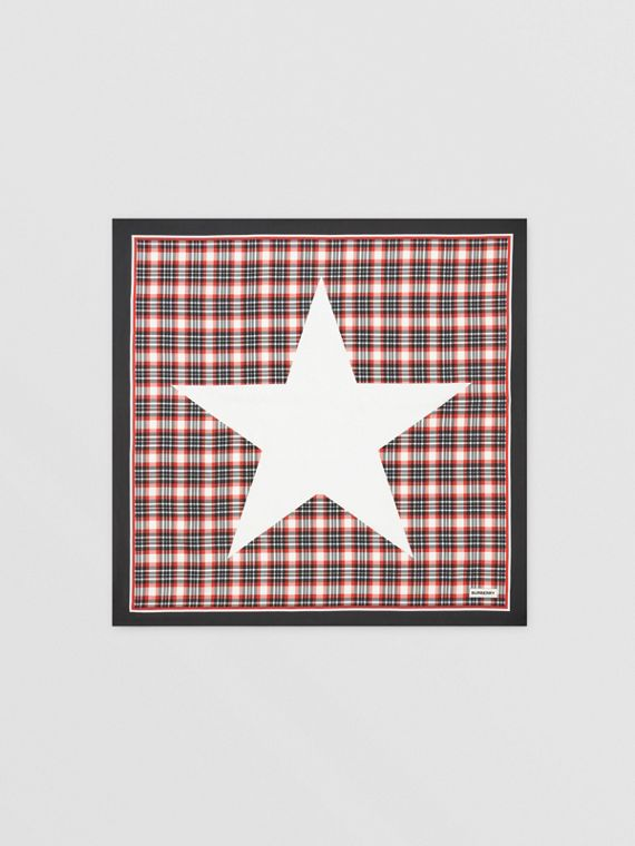 Star Motif Check Print Silk Square Scarf in Bright Red