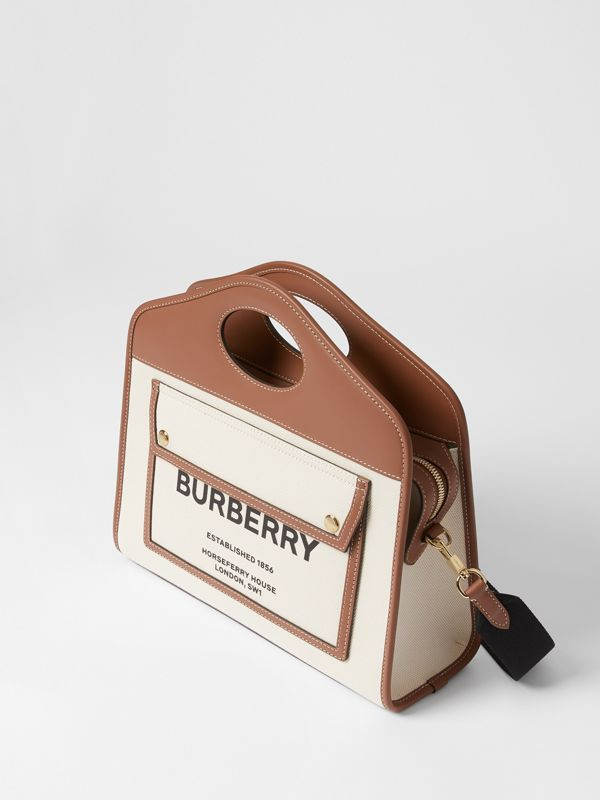 Small Two-tone Canvas and Leather Pocket Tote in Natural/malt Brown - Women | Burberry - cell image 2