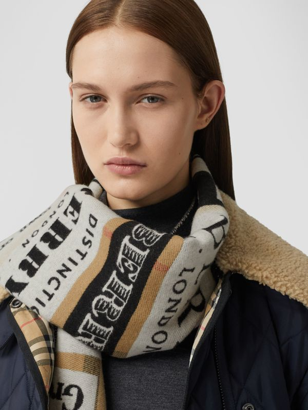 Archive Logo Cashmere Jacquard Scarf in Beige | Burberry - cell image 2