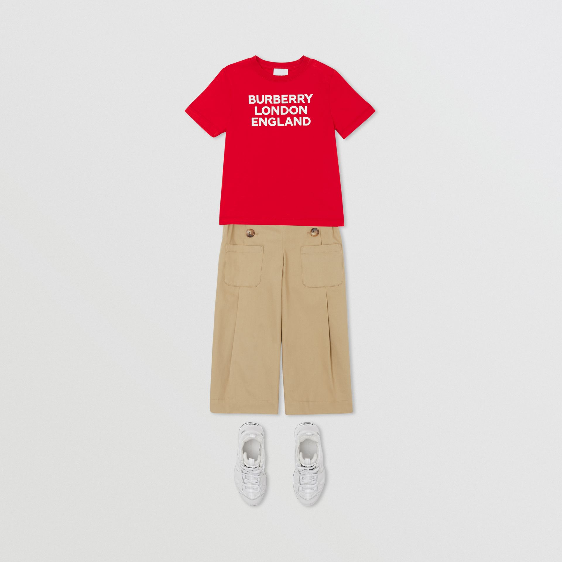 Logo Print Cotton T-shirt in Bright Red | Burberry United Kingdom - gallery image 2