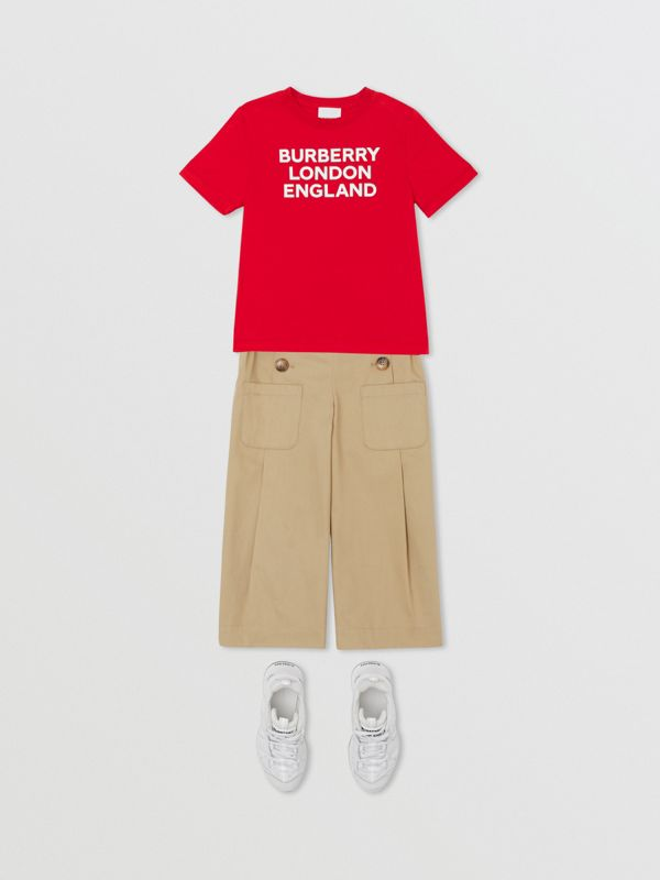 Logo Print Cotton T-shirt in Bright Red | Burberry United Kingdom - cell image 2