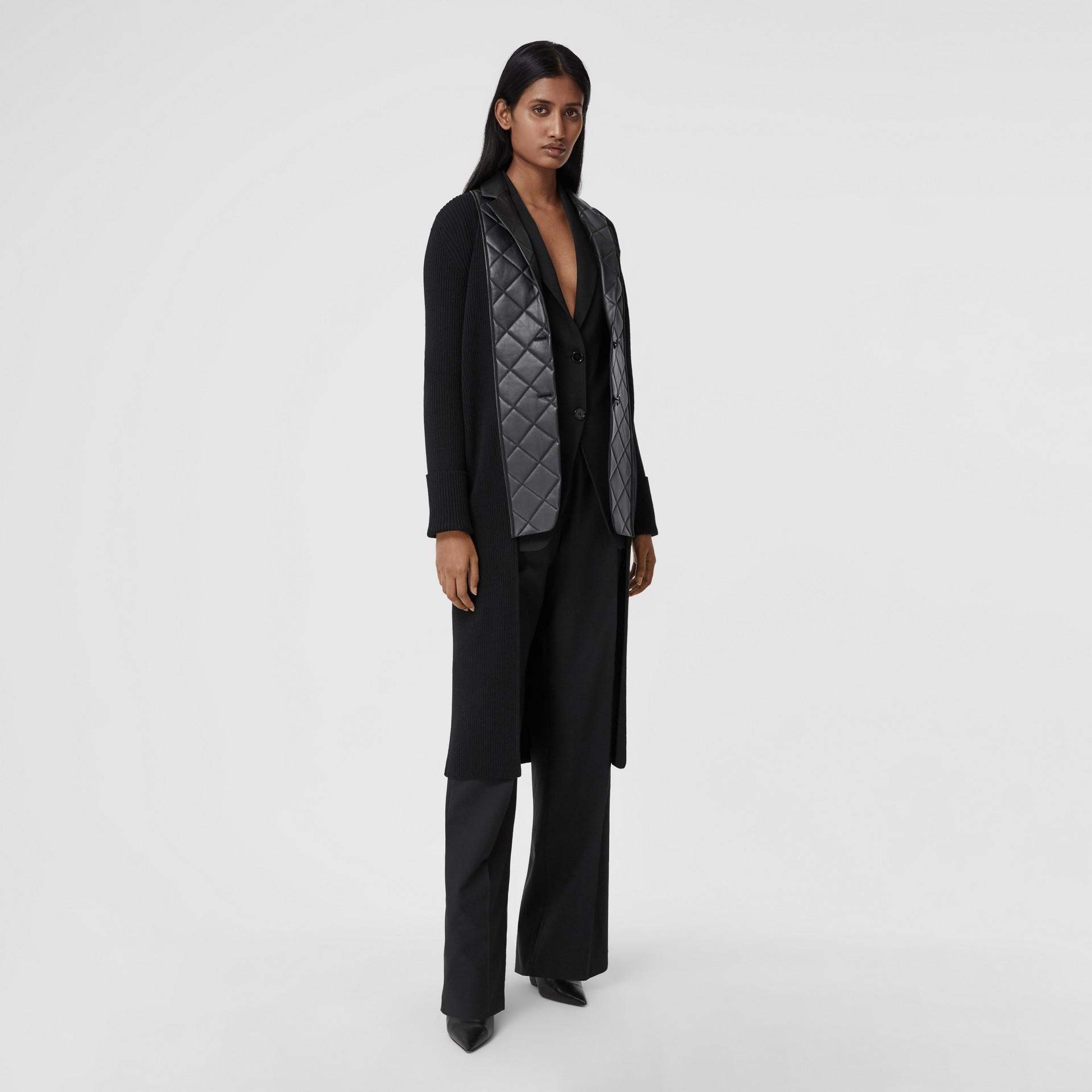 Lambskin Blazer Panel Rib Knit Wool Cardigan in Black - Women | Burberry - gallery image 0