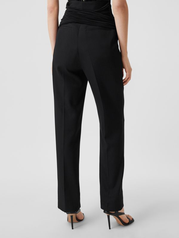Jersey Sash Detail Wool Tailored Trousers in Black - Women | Burberry - cell image 2