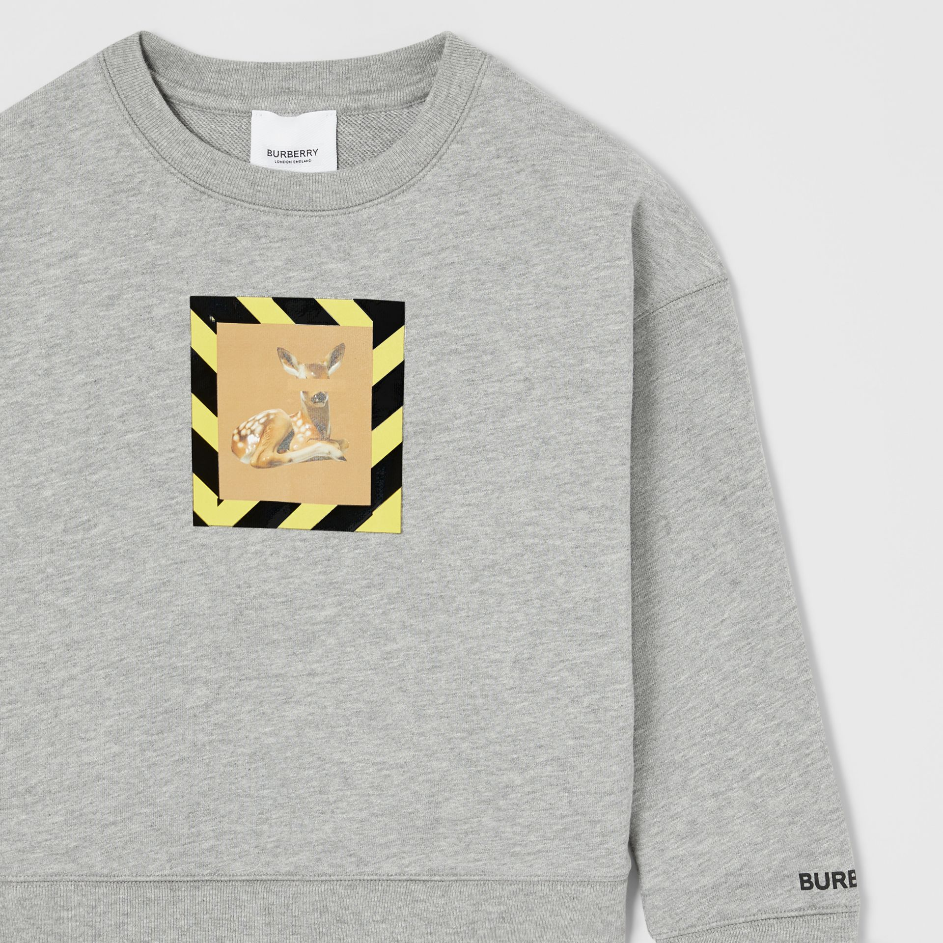 Deer Print Cotton Sweatshirt in Grey Melange | Burberry Hong Kong S.A.R - gallery image 6