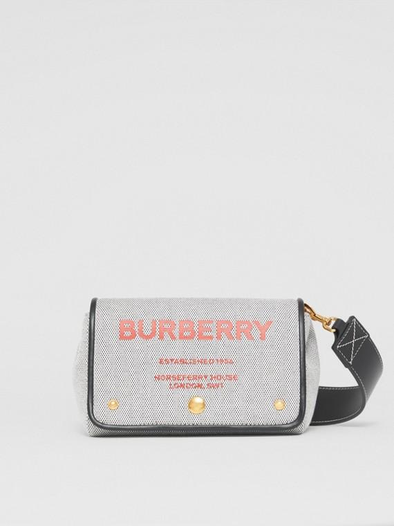 Kleine Crossbody-Tasche aus Baumwollcanvas mit Horseferry-Aufdruck (Schwarz/rot)