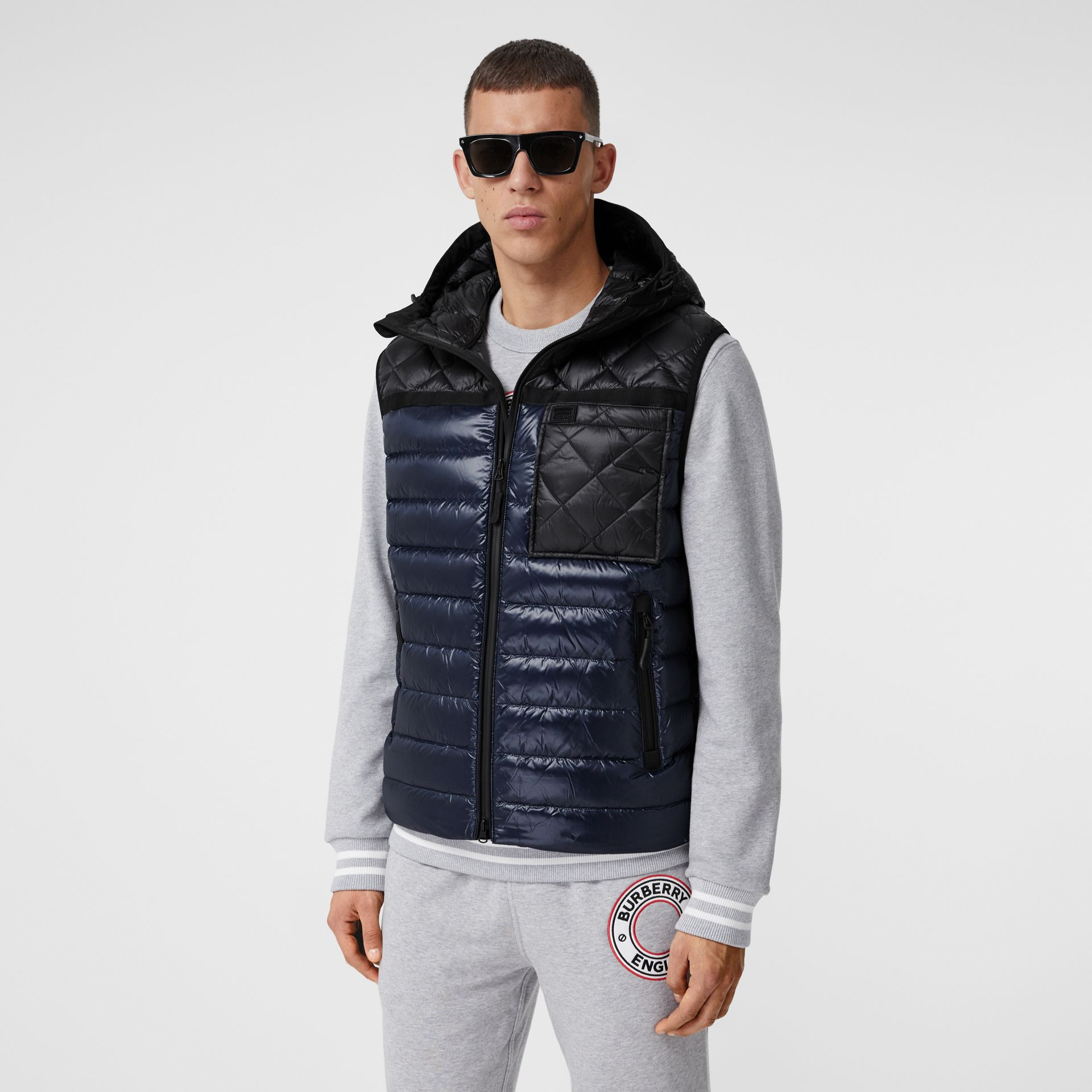 Diamond Quilted Panel Hooded Puffer Gilet in Midnight - Men | Burberry - gallery image 6