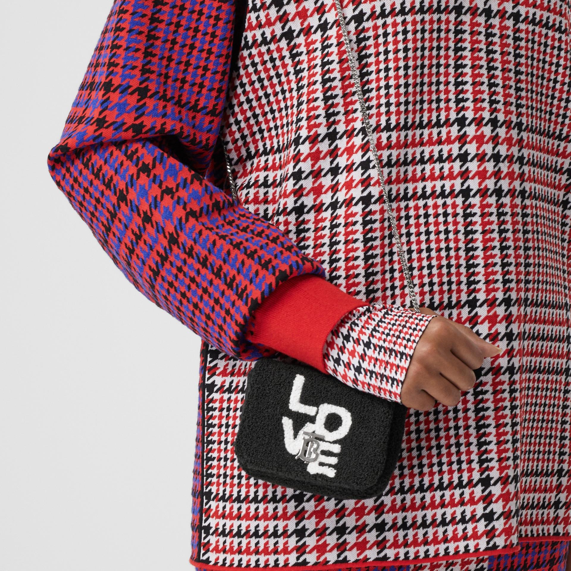 Micro Love Motif Towelling Lola Bag in Black - Women | Burberry - gallery image 2