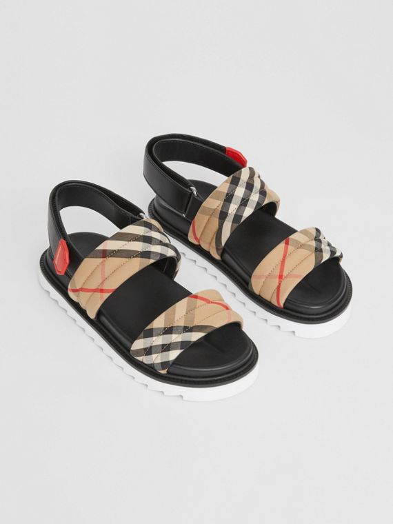Vintage Check Cotton and Leather Quilted Sandals in Archive Beige