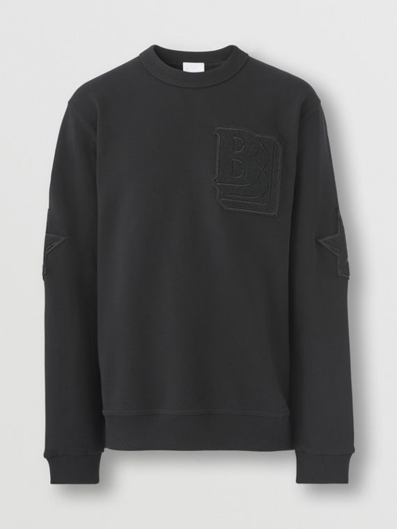 Letter and Star Graphic Cotton Sweatshirt in Black