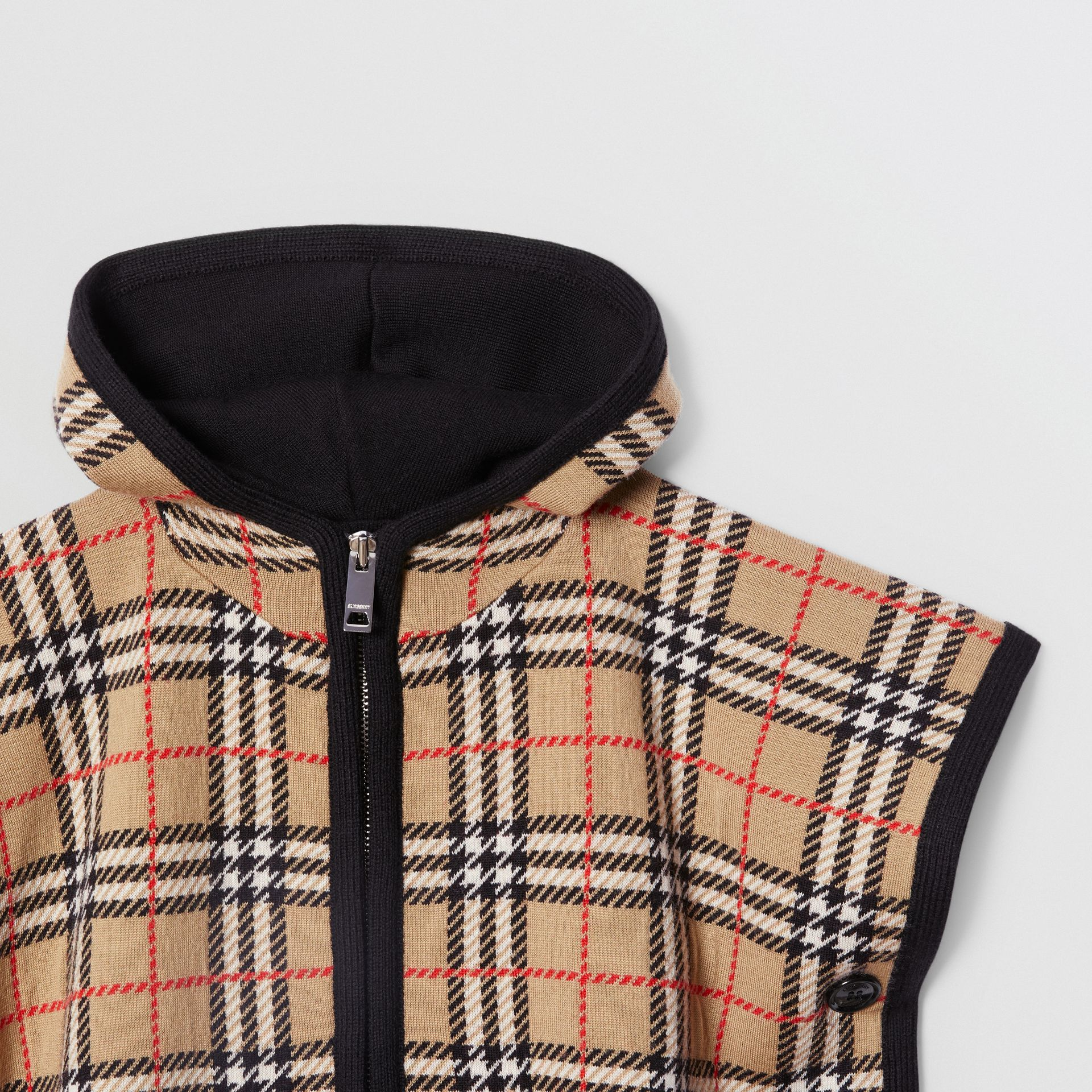Check Merino Wool Jacquard Hooded Poncho in Archive Beige - Children | Burberry United Kingdom - gallery image 3