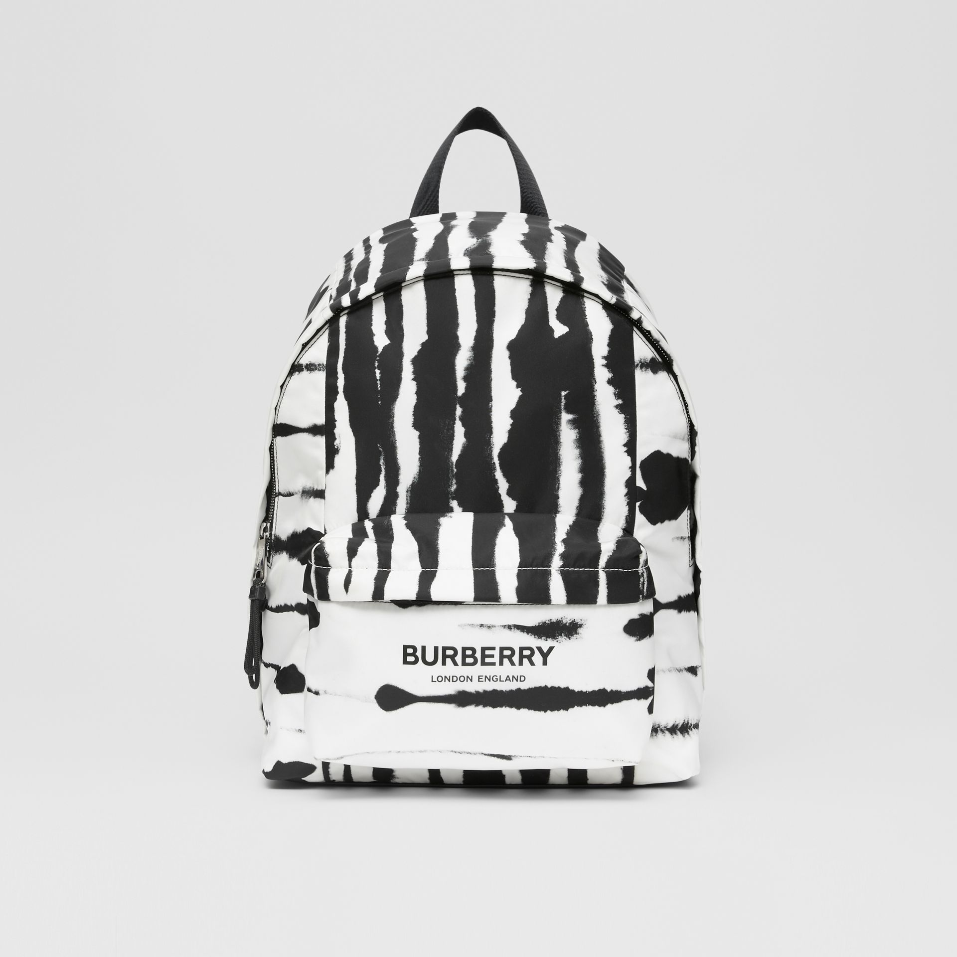 Watercolour Print ECONYL® Backpack in Black/white | Burberry - gallery image 0