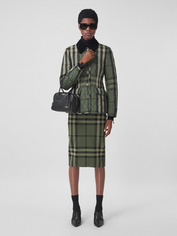 Check Cotton Silk Blend Jacquard Skirt in Military Green