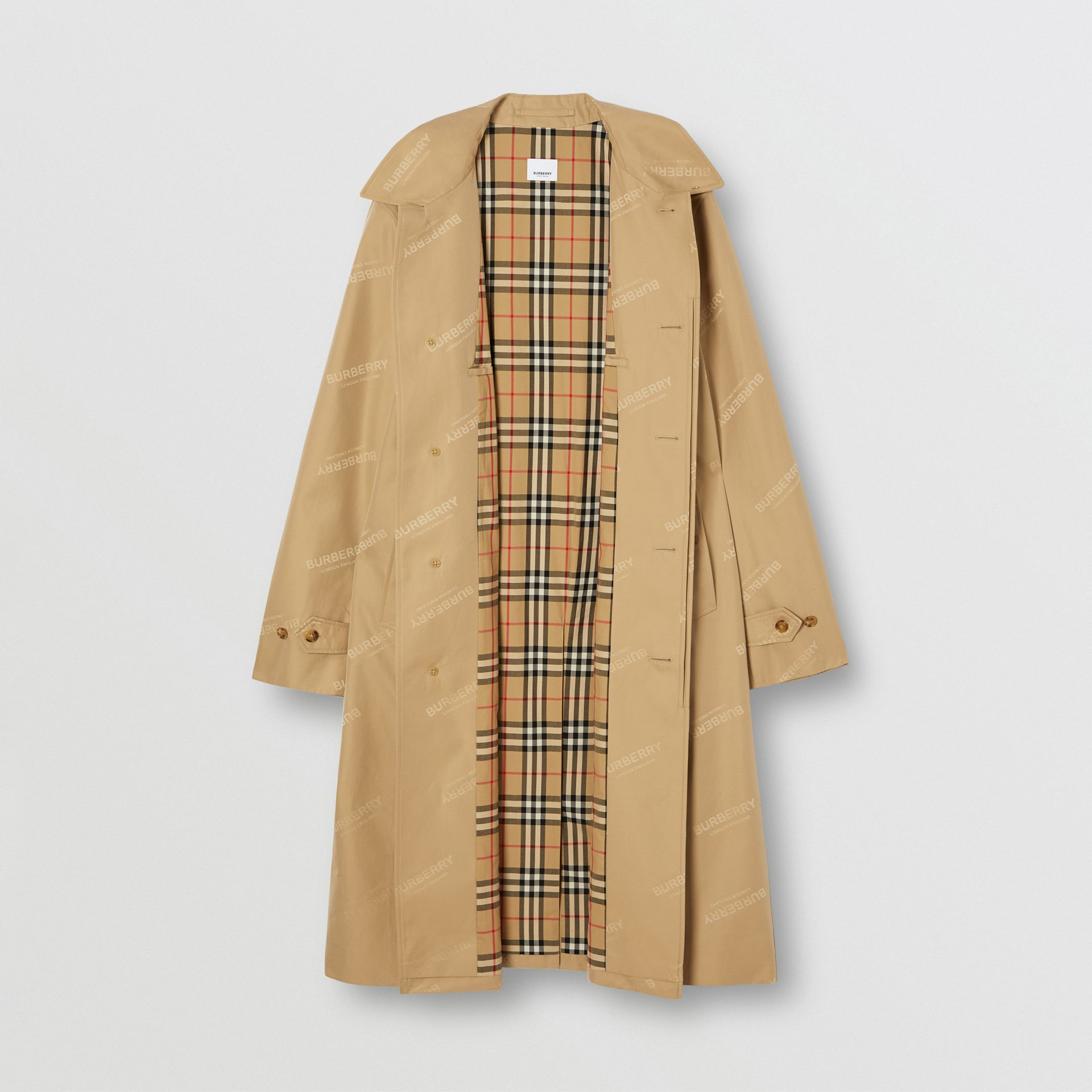 Logo Jacquard Cotton Twill Car Coat in Soft Fawn - Men | Burberry - gallery image 7