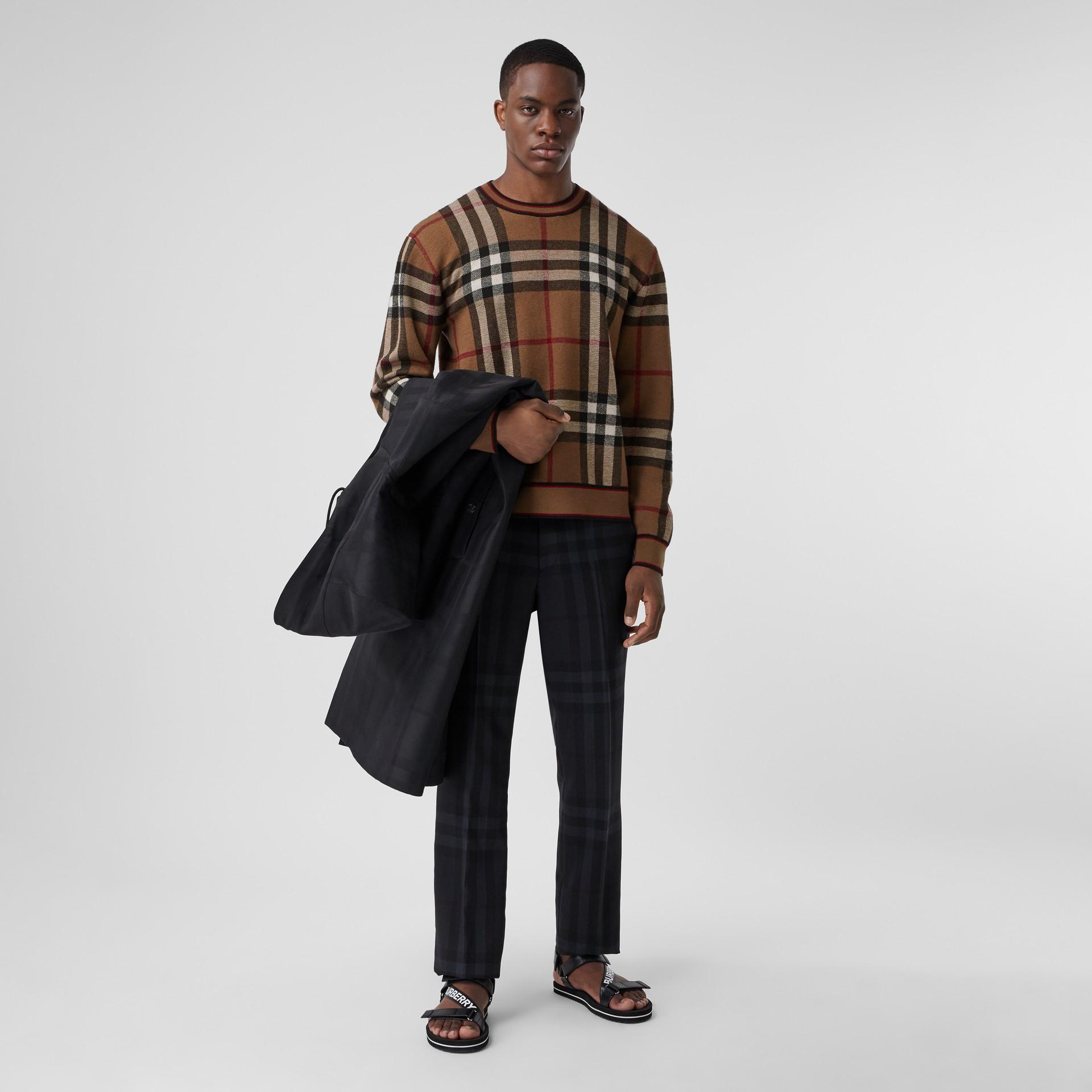 Check Merino Wool Jacquard Sweater in Birch Brown - Men | Burberry - gallery image 6