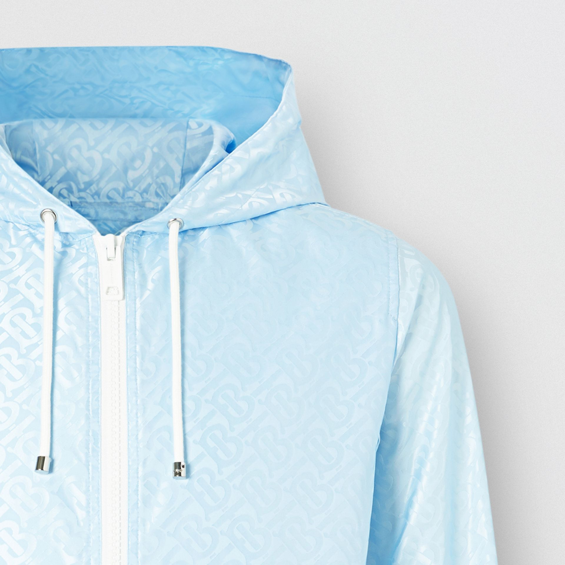 Monogram ECONYL® Jacquard Hooded Jacket in Pale Blue - Women | Burberry - gallery image 1