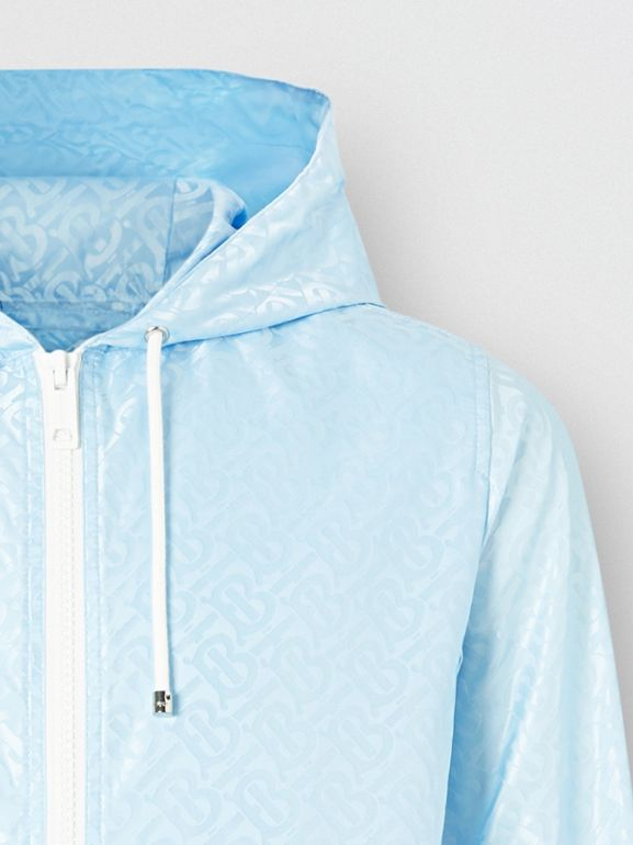 Monogram ECONYL® Jacquard Hooded Jacket in Pale Blue - Women | Burberry - cell image 1