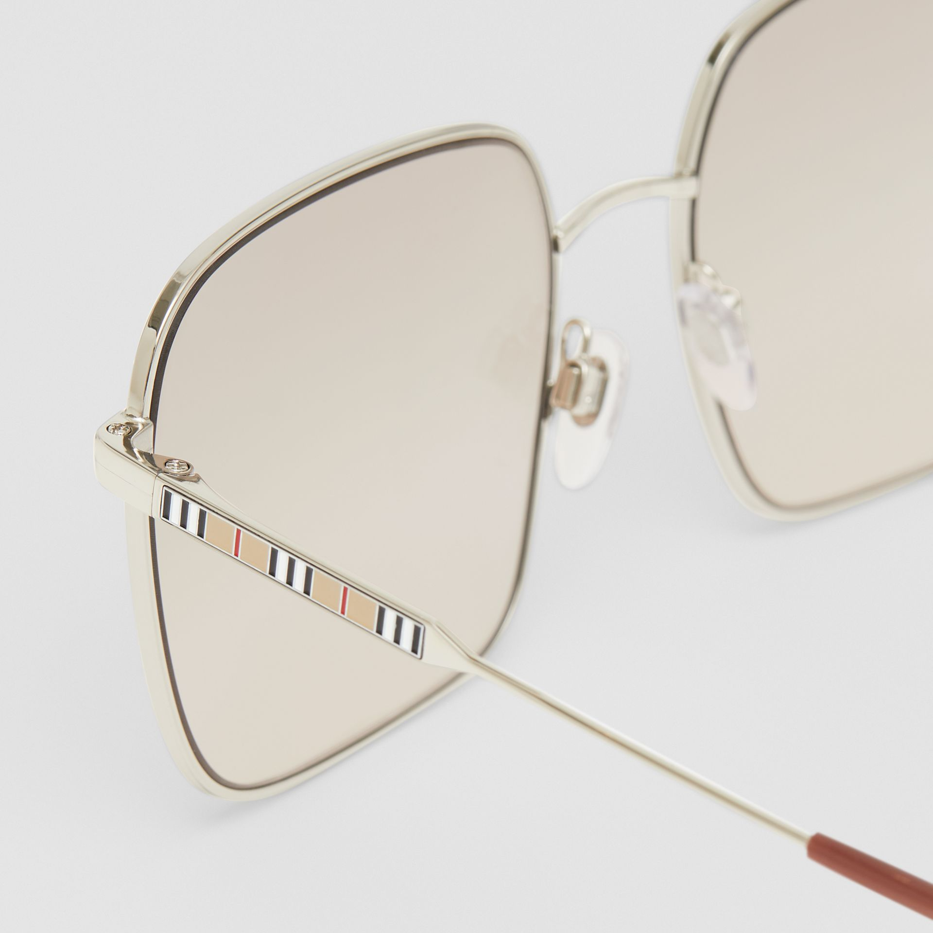 Oversized Square Frame Sunglasses in Nude Pink - Women | Burberry - gallery image 1