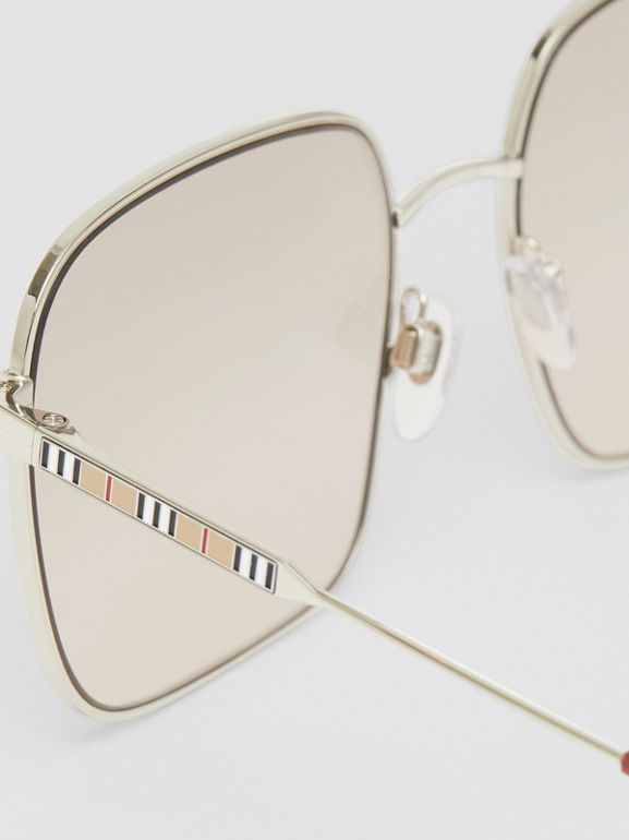 Oversized Square Frame Sunglasses in Nude Pink - Women | Burberry - cell image 1