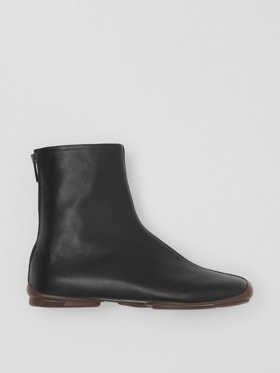 Leather Phoenix Sock Boots in Black/ebony Brown