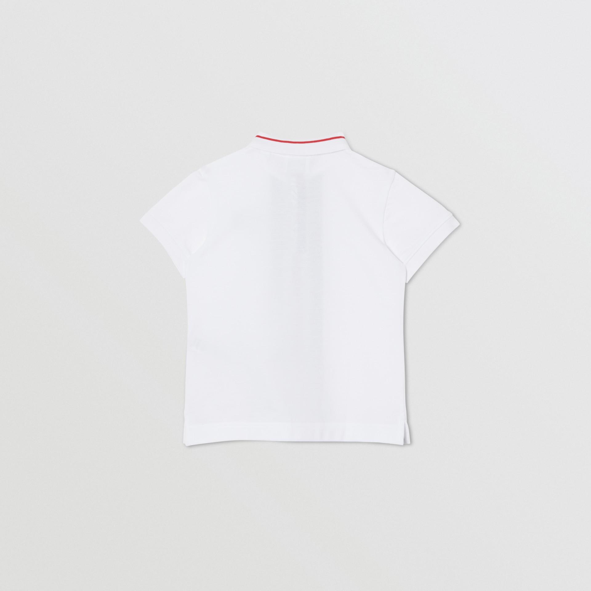 Poloshirt aus Baumwollpiqué mit Monogrammmuster im Streifendesign (Weiß) | Burberry - Galerie-Bild 3